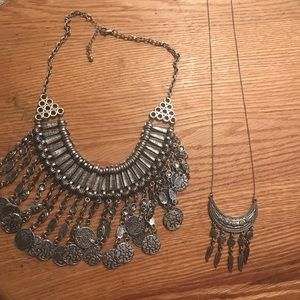 Forever 21 Silver Boho Coin Feather necklaces